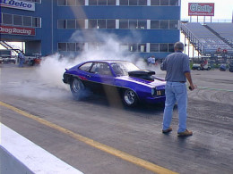 At the Texas Motorplex Racetrack with the Ford Pinto doing a burn out