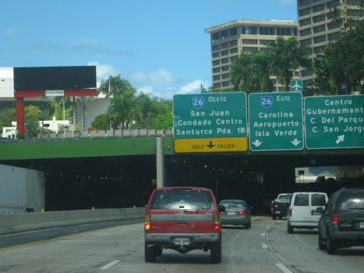 Entering the Minillas Tunnel in San Juan, Puerto Rico
