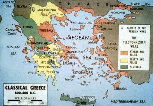 The Dispositions of the various Cities of Ancient Greece; Orange are Athenian Allies, Yellow Spartan ones and Green neutral.