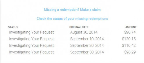 These are all my missing payments before October 2014. Still no word from them