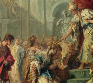 """When he saw Queen Esther standing in the court, he was pleased with her and held out to her the gold scepter that was in his hand.  So Esther approached and touched the tip of the scepter."""