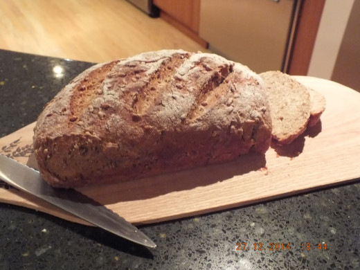 The bread is cool enough to slice.