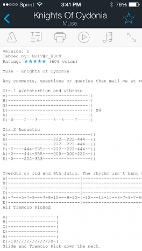 The Ultimate Guitar Tab app gives you access to a huge database of user-created guitar tablature