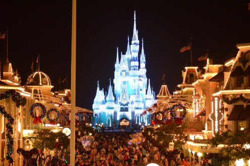 Enter The Magic Kingdom and be awed as you walk down Main Street U.S.A toward Cinderella's Castle frozen during Thanksgiving at the The Magic Kingdom.