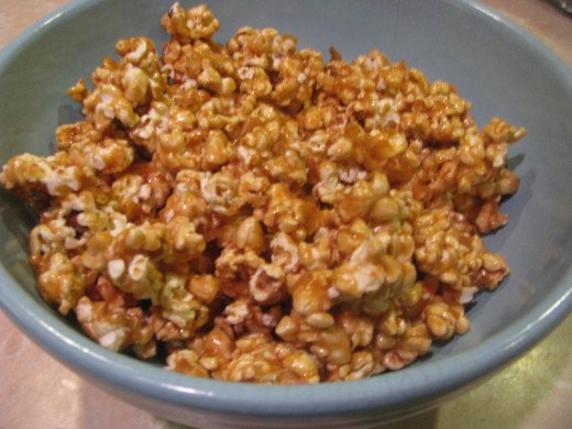 Cool caramel corn, break into pieces, place in pretty bowl & Enjoy!