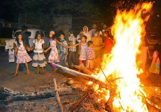 Bhogi bonfire