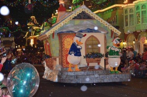 "Donald Duck joins ""Mickey's Very Merry Christmas Party"" at The Magic Kingdom. The only people in the park during this party are those who a buy a party ticket - which means ride lines are short, and crowds manageable."