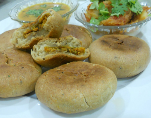 baati chokha ( a recipe made from wheat dough that is fried in deep oil)