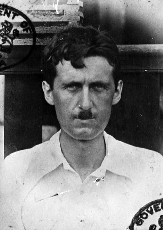 A passport photo showing George Orwell during his time in Burma