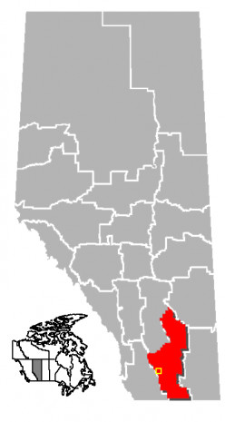 Map location of Lethbridge Census Division, Alberta