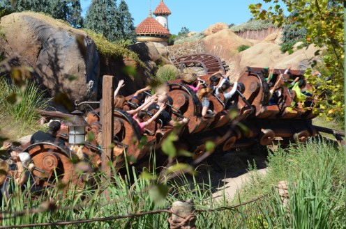 """The Seven Dwarfs Mine Train"" attraction at The Magic Kingdom at Walt Disney World is a family-friendly rollercoaster-type ride through the diamond mine worked by the seven dwarves."