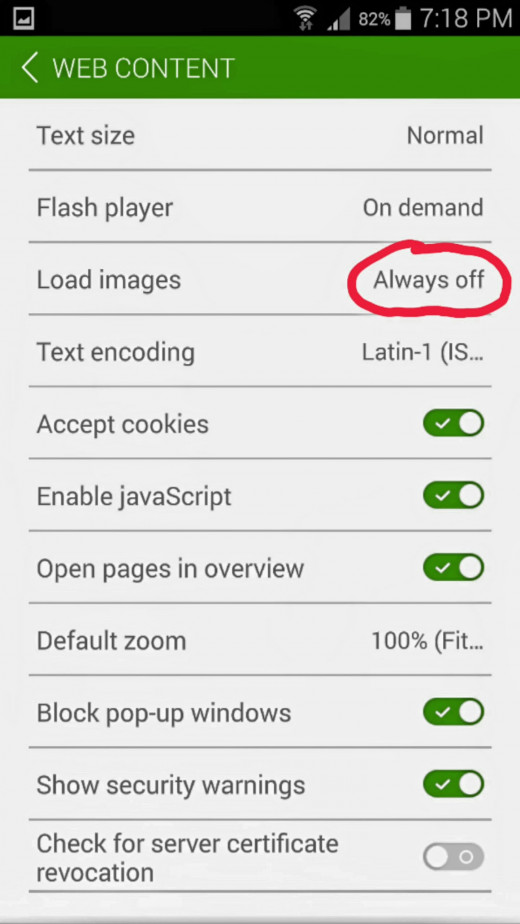 Settings page of Dolphin browser.