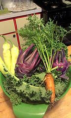 Purple Vienna Kohlrabi with other veggies freshly picked from my garden.