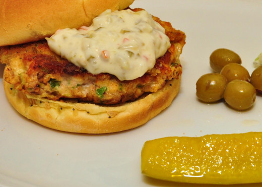Fish patties topped with tartar sauce - Just Perfect