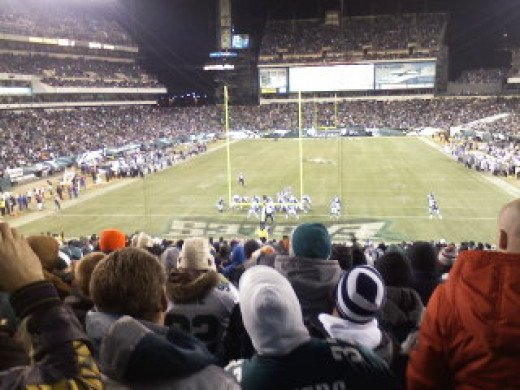 our view of a game between the Vikings and Eagles
