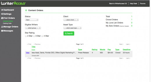 The open orders page on WriterAccess.