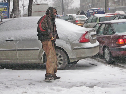 In winter, life is very hard for homeless people in Romania