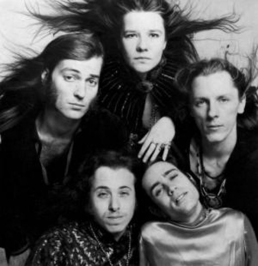 Big Brother and the Holding Company (on a very bad hair day): (clockwise from top) Janis Joplin, lead vocals; James Gurley, guitar; Peter Albin, bass, vocals; Dave Getz, drums; Sam Andrew, guitar, vocals