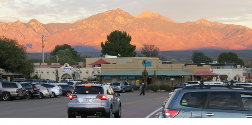 Santa Rita Mountains at sunset overlooking village of Tubac, AZ