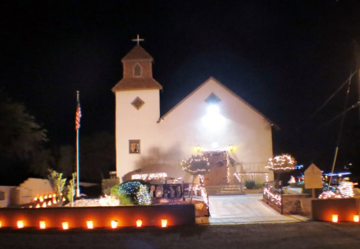 Luminaria in front of Tubac's historic St. Anne's Church