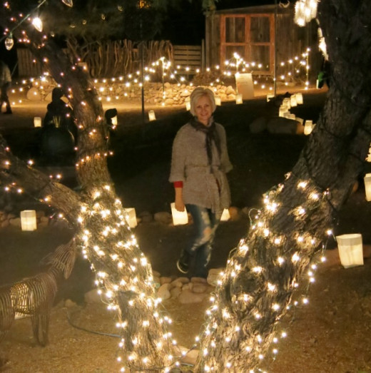 My wife surrounded by Christmas lights in Tubac, AZ
