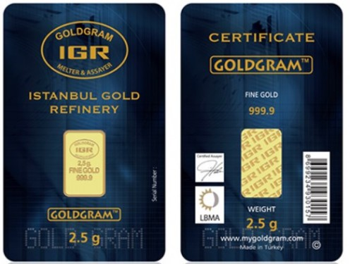 2.5 gram of gold from the Instanbul Gold Refinery (IGR).