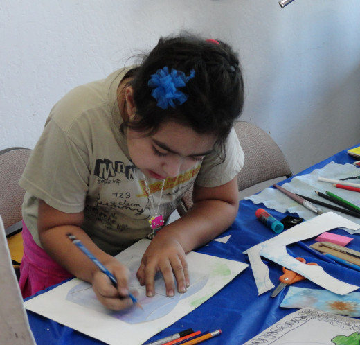 One of my students in a summer class program at a art store
