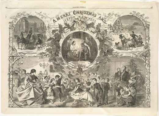 This is an amazing post card, with several different Christmas and festive scenes portrayed.  The one in the middle is the birth of Jesus it looks like. From a wood engraving in 1859.  A really in depth piece of art.