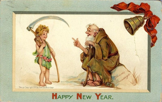 This one is a very peculiar card indeed!  It has a 1910 year date, is from, and shows an old man and kid, with a scythe, and something representing an hourglass is suggested.  Not your everyday greeting!  From Germany, and is embossed.