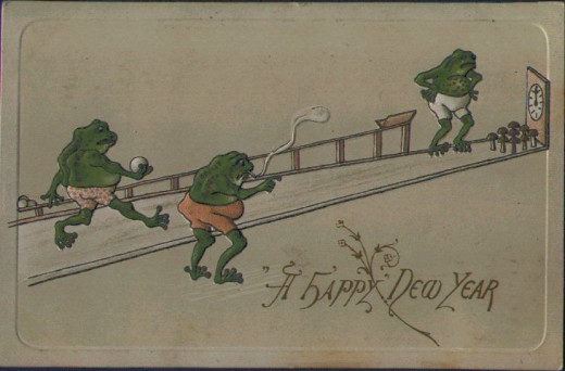 A Happy New Year, with frogs bowling!  I thought this was too cute, and funny too.  They are using mushrooms for pins.  This is from 1908.