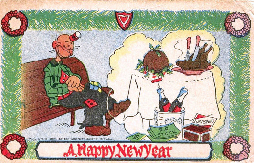 "This one is a fun and lighthearted postcard, welcoming the New Year!  A ""Happy Hooligan"", from 1906."