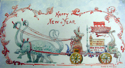 "Charles R. Knight, from 1920.  I really like this one, it is so unique and fun!   A simple with ""Happy New Year!"""