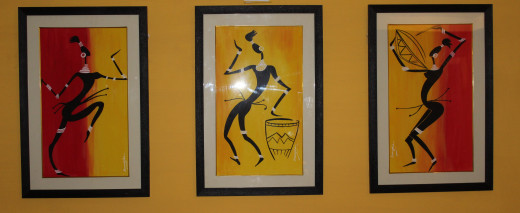 Musicians - Masai Painting  - Framed