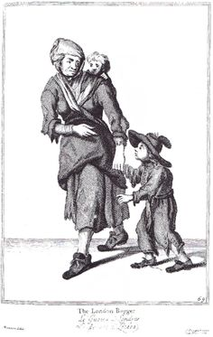 """The London Beggar"" from ""Cryes of the City of London Drawne after the Life"" by Marcellus Laroon (1687)"