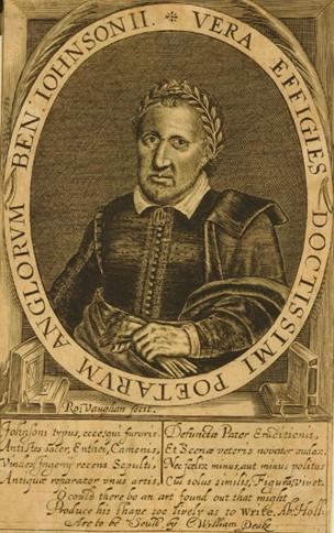 Portrait of Benjamin Jonson; holding gloves; laurel