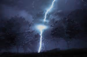 Lightning striking a tree similar to one along the route