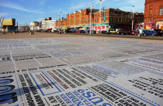 This comedy 'carpet' is in my hometown of Blackpool, and consists of hundreds of famous quotes from the most well-known of comedies and comedians; all painted onto the floor.