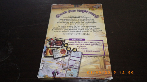 Back of Harry Potter Trading Card Game box
