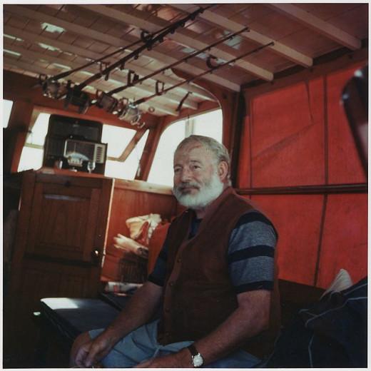 Ernest Hemingway aboard the Pilar
