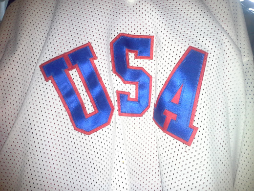 replica of USA Ice Hockey team jersey worn in the 1980 Olympic games