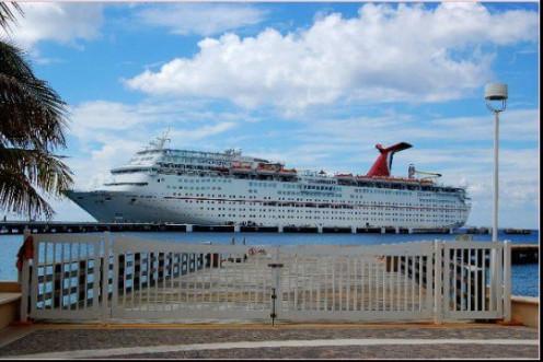 Carnival ship docked in Cozumel, Mexico