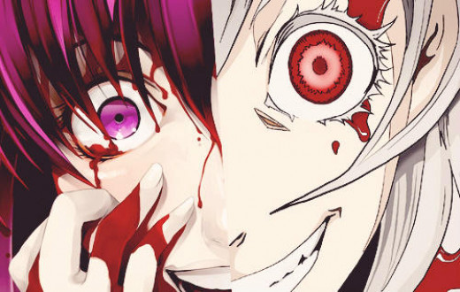 "Composite Screenshot image of Yuno Gasai and Shiro, from ""Future Diaries"" and ""Deadman Wonderland."""