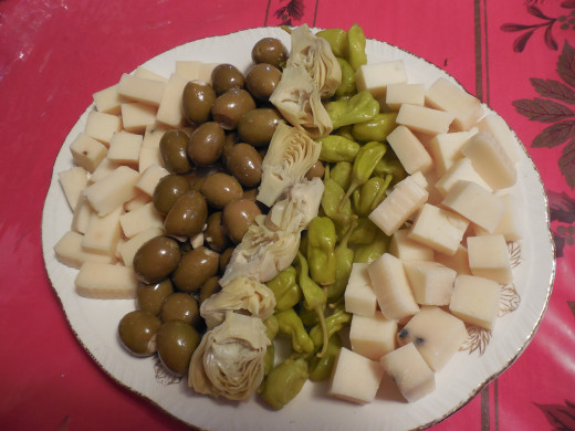 Cheese, Olives and Artichoke hearts