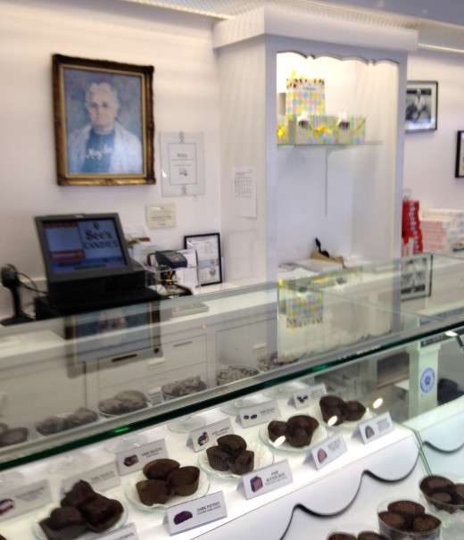 See's Candies of California. Delicious candies from Mary See's original recipes.  Her picture is on the wall.