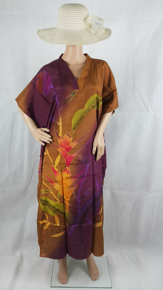 Brown purple with tropical forest flowers.