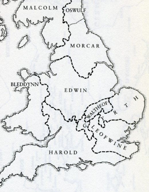 Morkere/Morcar is shown as holding Northumbria on this map that post-dates Tostig's departure