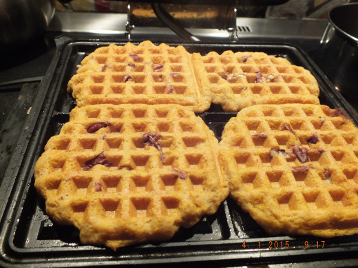 This batter may be moister than what you are used to. It's because of the flour type and the pumpkin. This is not a problem at all; it cook a bit longer in the waffle maker. You will have to experiment with your own waffle maker, but be patient.
