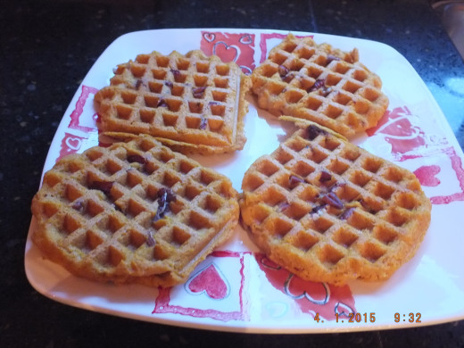 """While the waffles were cooking, I heated up real maple syrup. Please don't ruin your waffles with that fake stuff! If it's caramel """"colored"""" corn syrup, don't put this stuff on your pancakes or waffles!  REAL maple syrup is best!"""