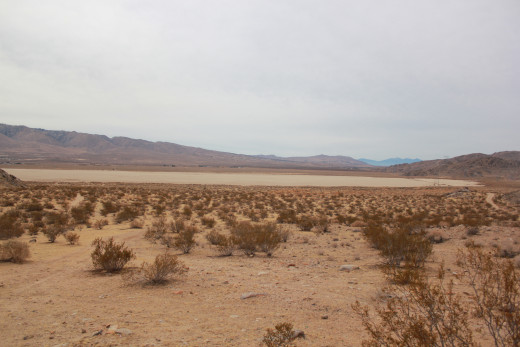 A scene from the Western base of Chimney Rock, with a view of the dry lake bed.