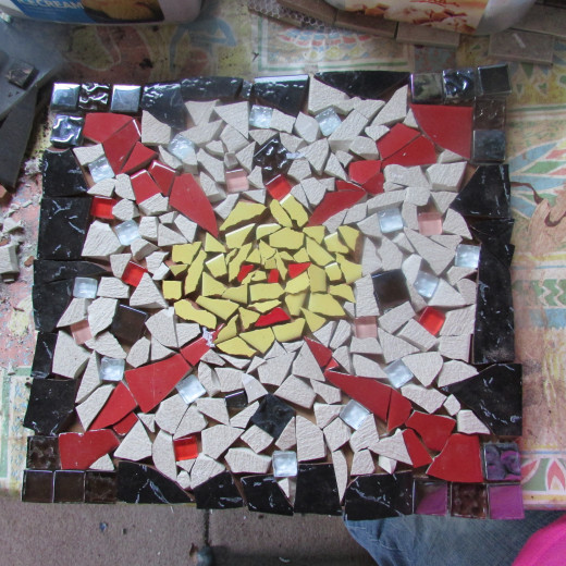 My Mosaic Design Ready for the Tile Glue